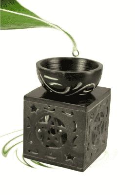 Oil Evaporator Pentagram Black Soapstone
