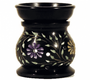 Oil Evaporator Flowers Black Soapstone