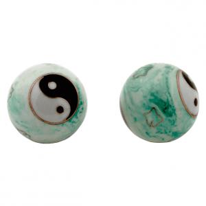 Meridian Balls Yin Yang White Green Marbled