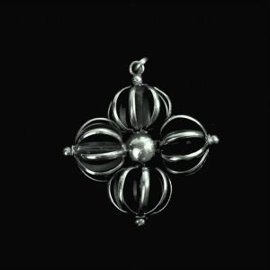 Double Dorje Pendant White Metal