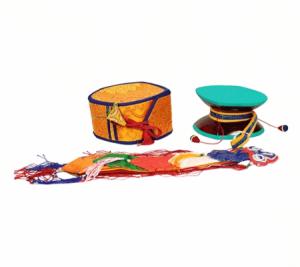 Mystic Ritual Drum (Damaru) with Yellow Bags