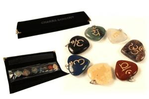 Set 7 Chakra Sanskrit Symbols Pendants