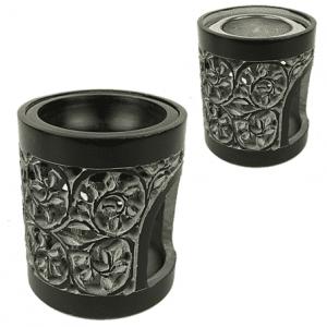 Incense burner and oil vaporizer soapstone Black