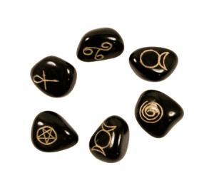 Wicca Symbols Stones Agate Black (Set of 6)