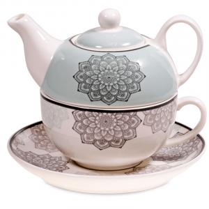 Tea for One Mandala Grey