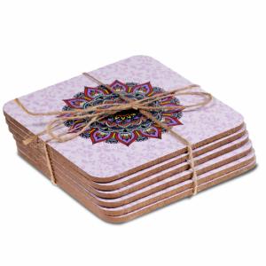 Mandala coasters purple set of 6