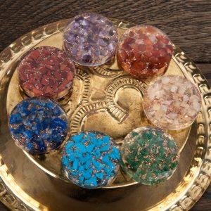 Orgone Chakra Stones in Storage Box