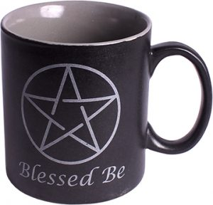 Black Ceramic Coffee Mug - Pentagram