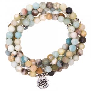 Mala Bracelet Amazonite Elastic with Lotus