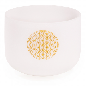 Crystal Singing Bowl F-Tone Flower of Life with Bag