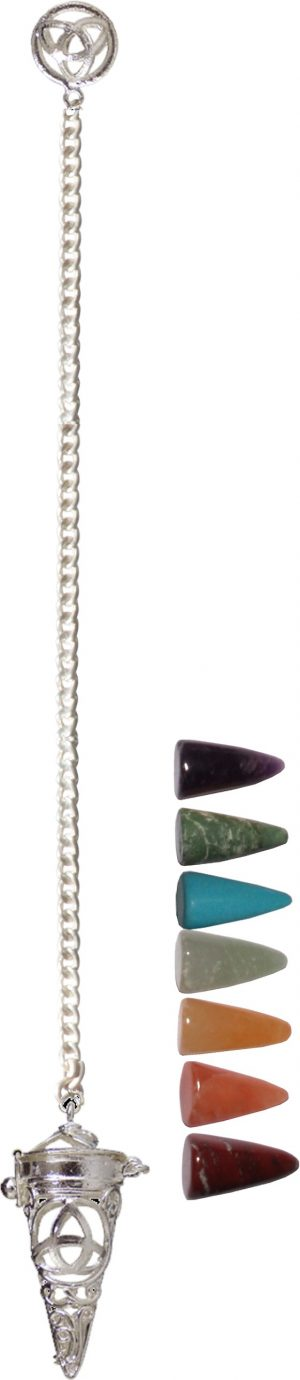 Pendulum Cage Set with 7 Chakras Stones Triquetra