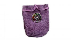 "SUEDE BAG PURPLE-CHAKRA TREE OF LIFE  3.25"" X 2.75"""