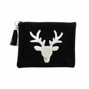 Leather Make Up Bag Black - Red Deer (22 x 16 cm)