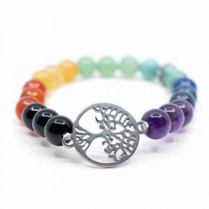 Gemstone Bracelet 7 Chakra with Tree of Life