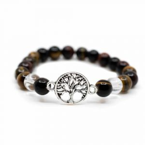 Gemstone Bracelet Tiger Eye/Rock Crystal with Tree of Life