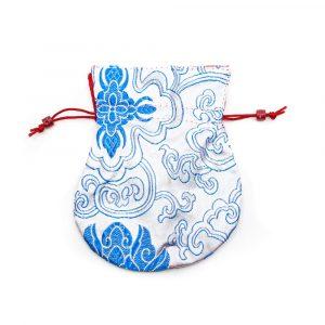 Brocade Bag Handmade - White / Blue