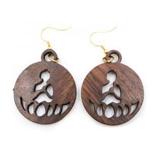 Earrings Buddha Wood