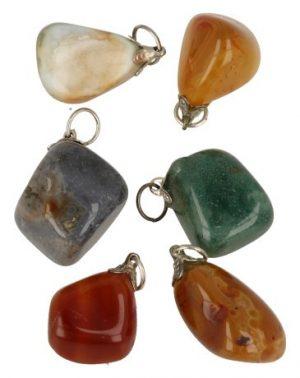 Agate Variegated Gemstone Pendant
