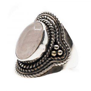 """Gemstone Ring Rose Quartz 925 Silver """"Elare"""" (Size 17)"""