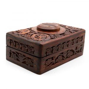 Storage Box Wood Yin & Yang Hand-carved (15 cm)