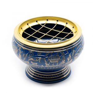 Incense Burner Brass for Charcoal - Blue