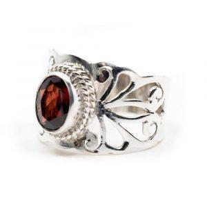 "Gemstone Ring Garnet 925 Silver ""Sonsare"" (Size 17)"