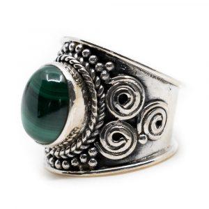 "Gemstone Ring Malachite 925 Silver ""Mesa"" (Size 17)"