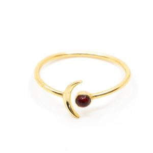 Birthstone Moon Ring Garnet January - 925 Silver - Adjustable