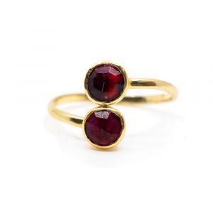 Birthstone Ring Ruby July - 925 Silver - Adjustable