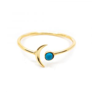 Birthstone Moon Ring Turquoise December - 925 Silver - Adjustable